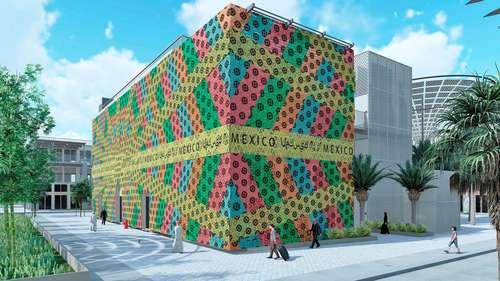 Instalación Tejedoras de lazos cubre el pabellón México en la Expo Dubái