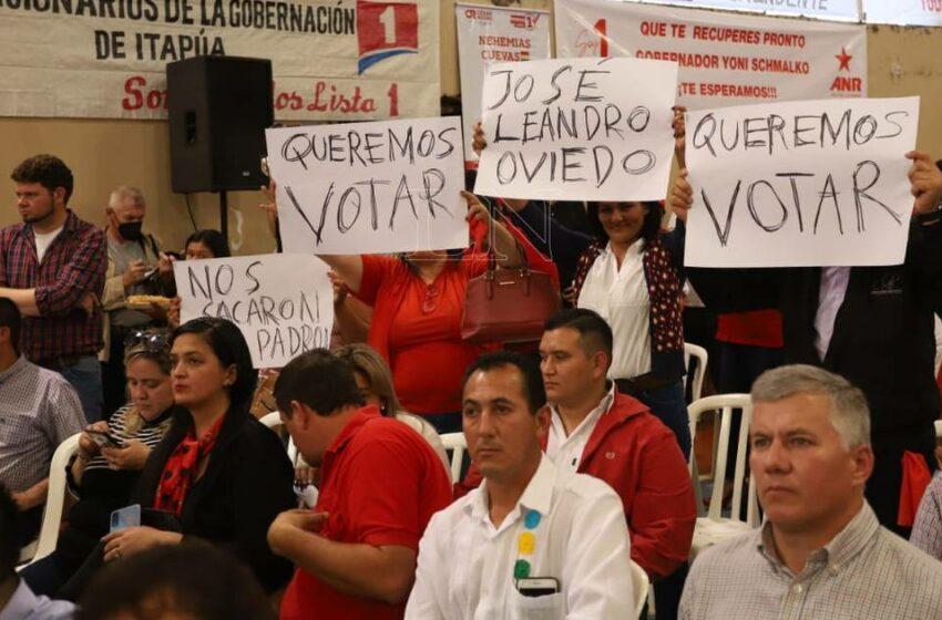 Colorados de José Leandro Oviedo denunciaron ser eliminados del padrón electoral