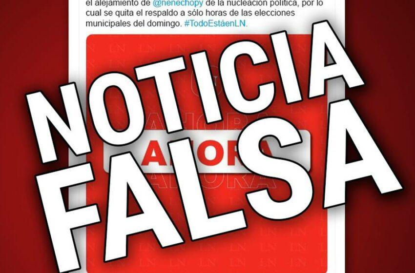 Grupo Nación desmiente noticia falsa sobre retiro de apoyo de Horacio Cartes a Nenecho Rodríguez