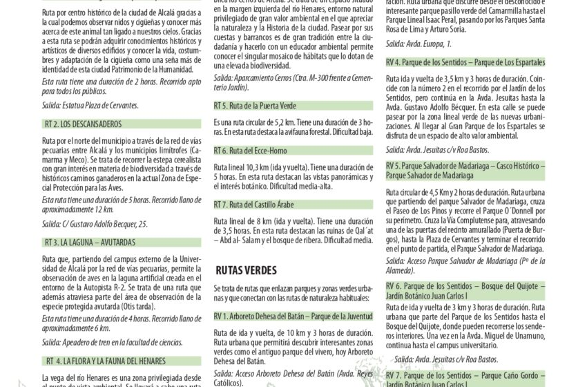 Vuelven las rutas ambientales guiadas de Alcalá de Henares